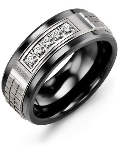 Men's & Women's Black Ceramic & White Gold + 5 Diamonds 0.15ct Wedding Band