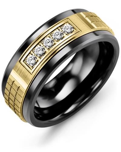 Men's & Women's Black Ceramic & Yellow Gold + 5 Diamonds 0.15ct Wedding Band 14K 9mm