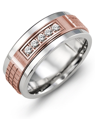 Men's & Women's Tungsten & Rose Gold + 5 Diamonds 0.15ct Wedding Band