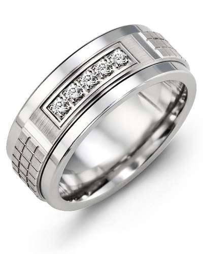 Men's & Women's Tungsten & White Gold + 5 Diamonds tcw 0.15 Wedding Band from MADANI Rings. Wedding bands, fashion rings, promise rings, made of Tungsten, Ceramic, Cobalt, and Gold. View the collection at madanirings.com