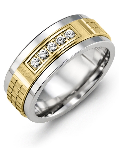 Men's & Women's Tungsten & Yellow Gold + 5 Diamonds 0.15ct Wedding Band 10K 9mm
