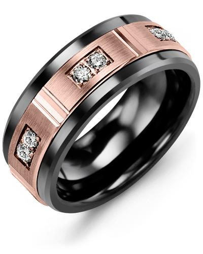 Men's & Women's Black Ceramic & Rose Gold + 6 Diamonds 0.18ct Wedding Band