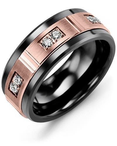 Men's & Women's Black Ceramic & Rose Gold + 6 Diamonds 0.18ct Wedding Band
