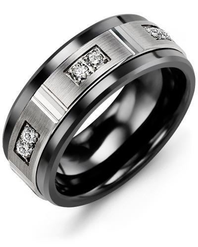 Men's & Women's Black Ceramic & White Gold + 6 Diamonds 0.18ct Wedding Band