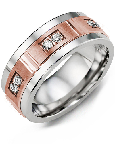 Men's & Women's Cobalt & Rose Gold + 6 Diamonds 0.18ct Wedding Band