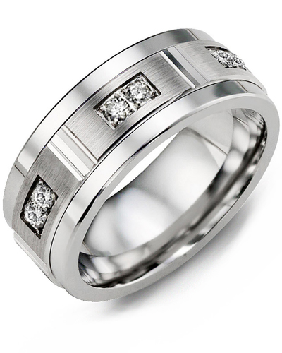 Men's & Women's Cobalt & White Gold + 6 Diamonds 0.18ct Wedding Band from MADANI Rings. Wedding bands, fashion rings, promise rings, made of Tungsten, Ceramic, Cobalt, and Gold. View the collection at madanirings.com