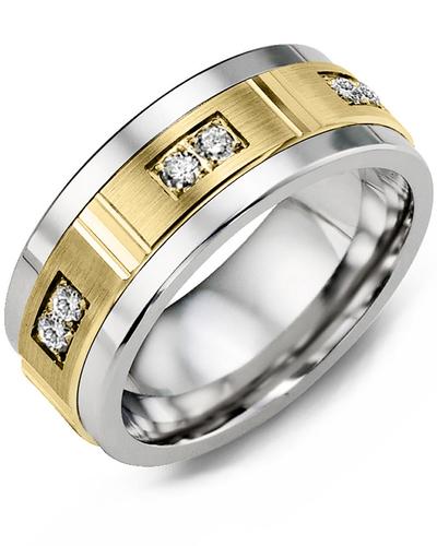 Men's & Women's Cobalt & Yellow Gold + 6 Diamonds 0.18ct Wedding Band
