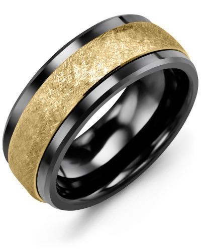 Men's & Women's Black Ceramic & Yellow Gold Wedding Band 10K 9mm