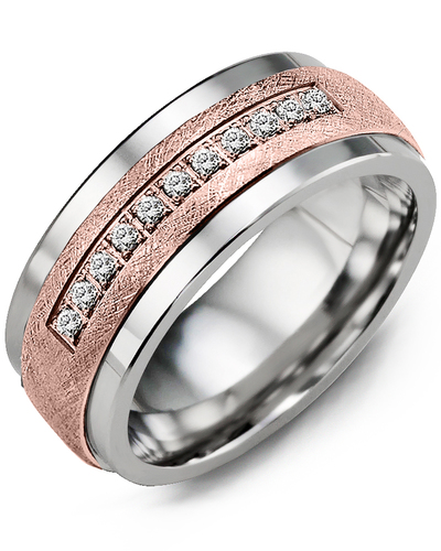Men's & Women's Tungsten & Rose Gold + 15 Diamonds 0.15ct Wedding Band