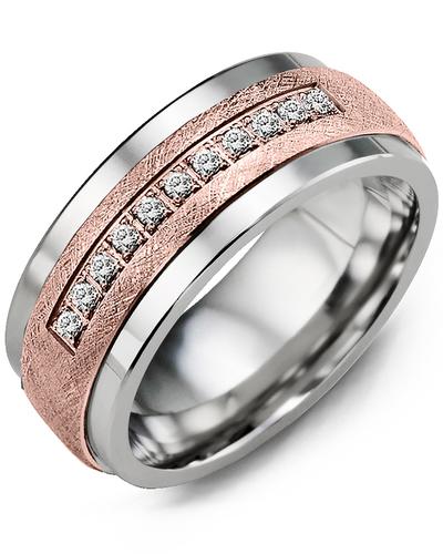 Men's & Women's Tungsten & Rose Gold + 15 Diamonds 0.15ct Wedding Band