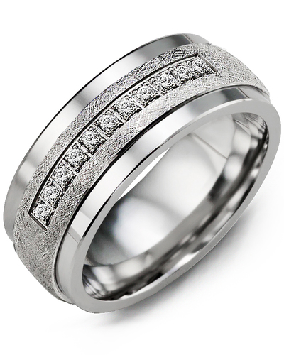 Men's & Women's Tungsten & White Gold + 15 Diamonds 0.15ct Wedding Band