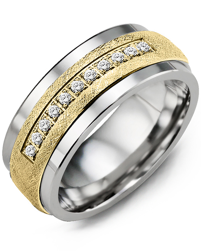 Men's & Women's Tungsten & Yellow Gold + 15 Diamonds 0.15ct Wedding Band