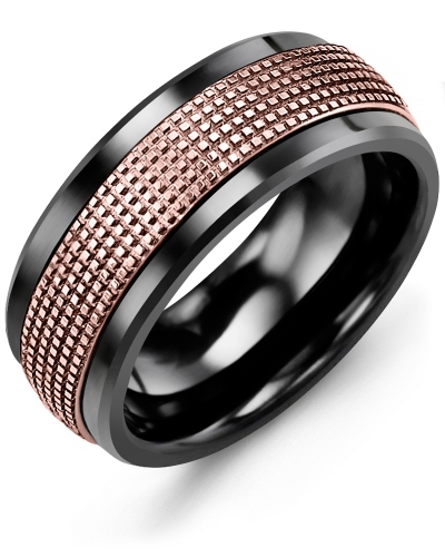 Men's & Women's Black Ceramic & Rose Gold Wedding Band 10K 9mm