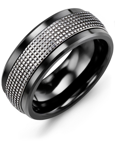 Men's & Women's Black Ceramic & White Gold Wedding Band 10K 11mm