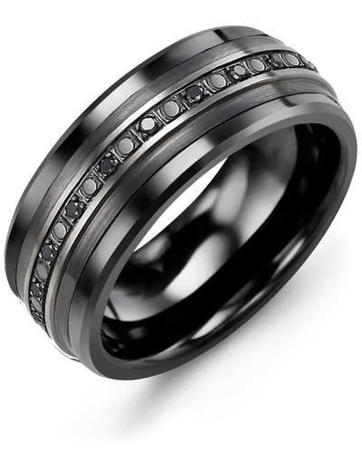 Men's & Women's Black Ceramic & Black Gold + 23 Black Diamonds 0.23 Wedding Band 10K 10mm