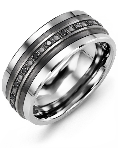 Men's & Women's Tungsten & Black Gold + 23 Black Diamonds 0.23 Wedding Band 10K 10mm