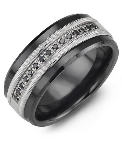 Men's & Women's Black Ceramic & White Gold + 15 Black Diamonds 0.15ct Wedding Band