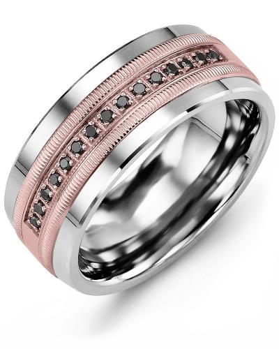 Men's & Women's Cobalt & Rose Gold + 15 Black Diamonds 0.15ct Wedding Band