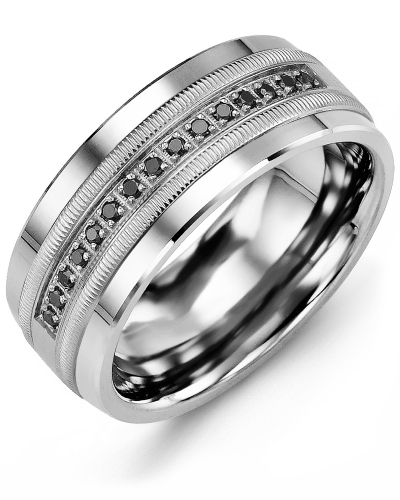 Men's & Women's Cobalt & White Gold + 15 Black Diamonds 0.15ct Wedding Band
