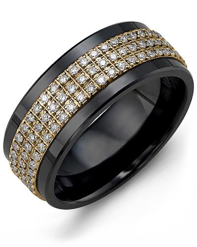 Men's & Women's Black Ceramic & Yellow Gold + 135 Diamonds 1.35ct Wedding Band