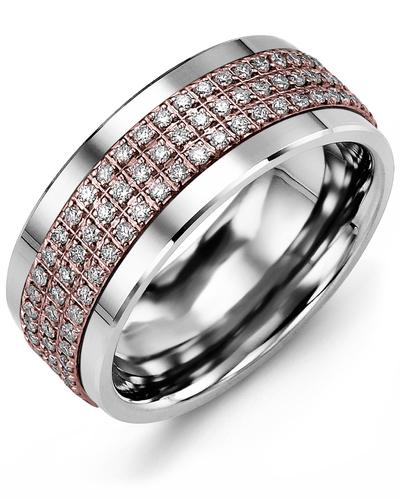Men's & Women's Cobalt & Rose Gold + 135 Diamonds 1.35ct Wedding Band