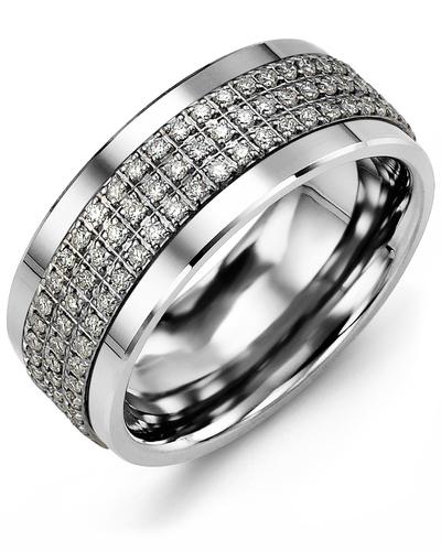 Men's & Women's Cobalt & White Gold + 135 Diamonds 1.35ct Wedding Band