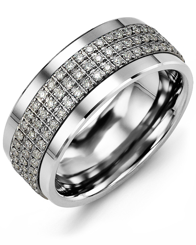 Men's & Women's White Gold & White Gold + 63 Diamonds 0.63ct Wedding Band from MADANI Rings. Wedding bands, fashion rings, promise rings, made of Tungsten, Ceramic, Cobalt, and Gold. View the collection at madanirings.com