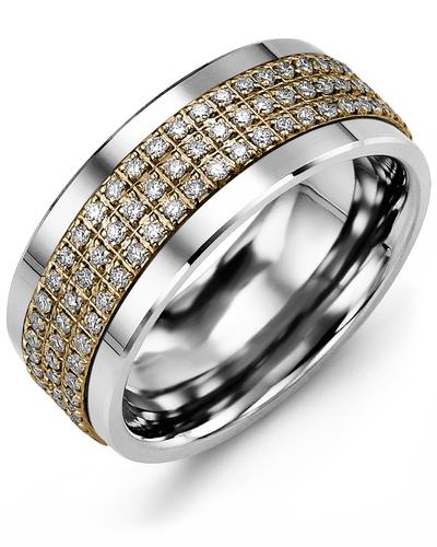 Men's & Women's Cobalt & Yellow Gold + 135 Diamonds 1.35ct Wedding Band