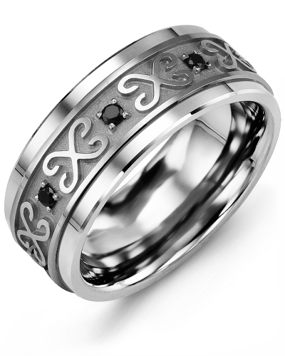 Men's & Women's Tungsten & White Gold + 8 Black Diamonds tcw 0.16 Wedding Band from MADANI Rings. Wedding bands, fashion rings, promise rings, made of Tungsten, Ceramic, Cobalt, and Gold. View the collection at madanirings.com