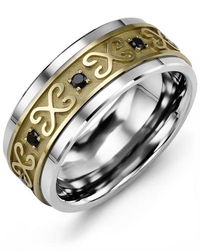 Men's & Women's Tungsten & Yellow Gold + 8 Black Diamonds tcw 0.16 Wedding Band