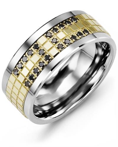 Men's & Women's Cobalt & Yellow Gold + 22 Black Diamonds tcw 0.22 Wedding Band 10K 10mm