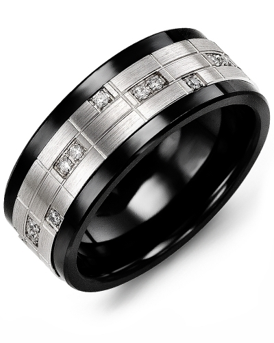 Men's & Women's Black Ceramic & White Gold + 14 Diamonds tcw 0.14 Wedding Band from MADANI Rings. Wedding bands, fashion rings, promise rings, made of Tungsten, Ceramic, Cobalt, and Gold. View the collection at madanirings.com