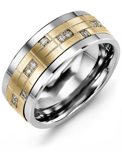 Men's & Women's Tungsten & Yellow Gold + 14 Diamonds tcw 0.14 Wedding Band