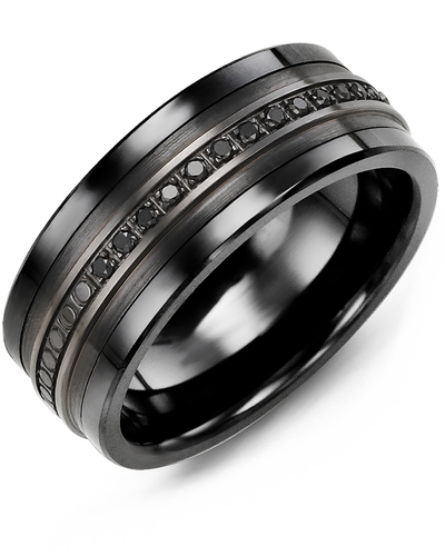 Men's & Women's Black Ceramic & Black Gold + 15 Black Diamonds 0.15ct Wedding Band