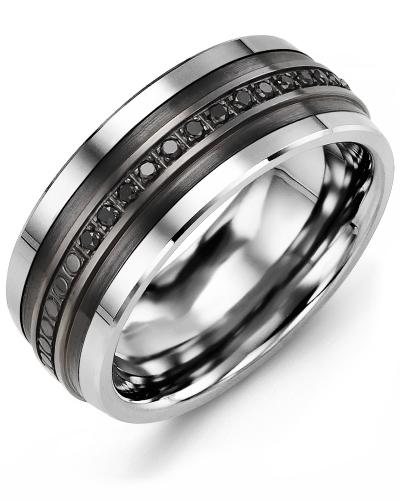 Men's & Women's Cobalt & Black Gold + 15 Black Diamonds tcw 0.15 Wedding Band 10K 10mm