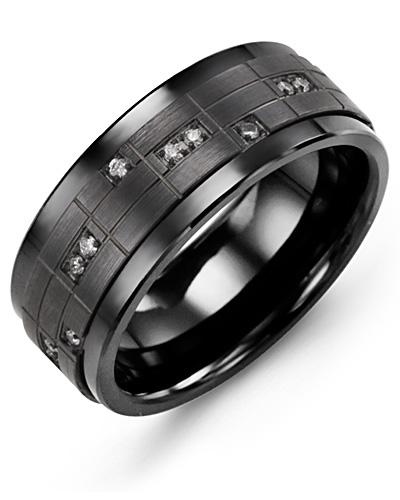 Men's & Women's Black Ceramic & Black Gold + 14 Diamonds 0.14ct Wedding Band