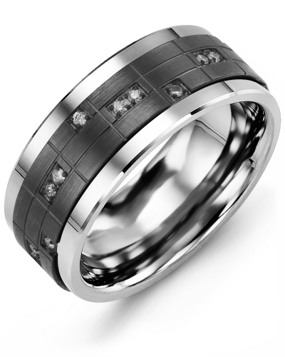 Men's & Women's Tungsten & Black Gold + 14 Diamonds tcw 0.14 Wedding Band
