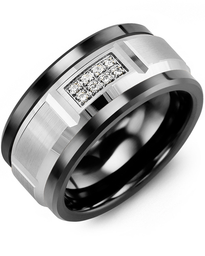 Men's & Women's Black Ceramic & White Gold + 8 Diamonds 0.08ct Wedding Band