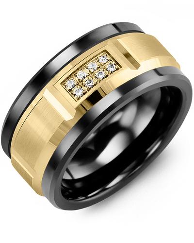 Men's & Women's Black Ceramic & Yellow Gold + 8 Diamonds tcw 0.08 Wedding Band 10K 9mm