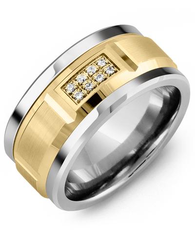 Men's & Women's Cobalt & Yellow Gold + 8 Diamonds 0.08ct Wedding Band