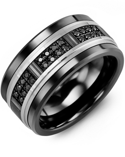 Men's & Women's Black Ceramic & White/Black Gold + 24 Black Diamonds 0.24ct Wedding Band