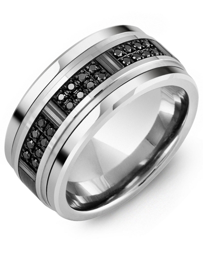 Men's & Women's Cobalt & White/Black Gold + 24 Black Diamonds 0.24ct Wedding Band