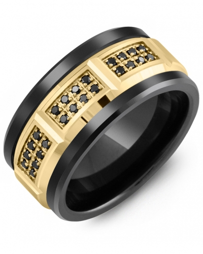 Men's & Women's Black Ceramic & Yellow Gold + 24 Black Diamonds 0.24ct Wedding Band
