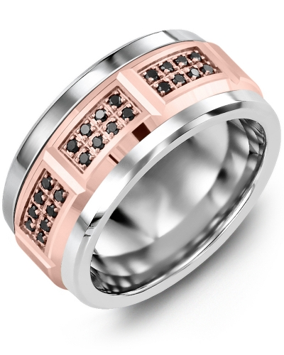 Men's & Women's Cobalt & Rose Gold + 24 Black Diamonds 0.24ct Wedding Band