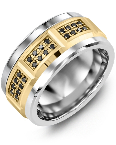 Men's & Women's Cobalt & Yellow Gold + 24 Black Diamonds 0.24ct Wedding Band