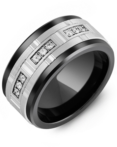 Men's & Women's Black Ceramic & White Gold + 9 Diamonds 0.18ct Wedding Band