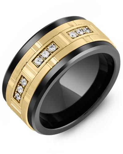Men's & Women's Black Ceramic & Yellow Gold + 9 Diamonds 0.18ct Wedding Band