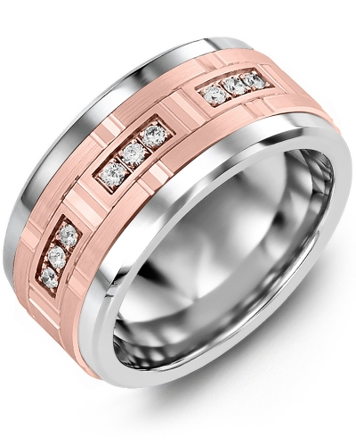 Men's & Women's Tungsten & Rose Gold + 9 Diamonds 0.18ct Wedding Band