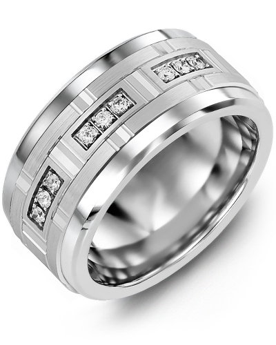 Men's & Women's Tungsten & White Gold + 9 Diamonds 0.18ct Wedding Band