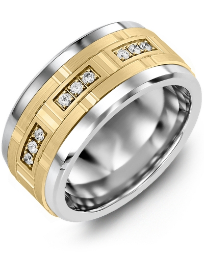 Men's & Women's Tungsten & Yellow Gold + 9 Diamonds 0.18ct Wedding Band